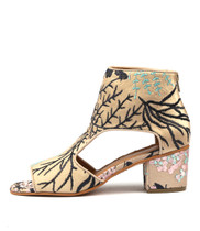 MOAMMA Heeled Sandals in Latte/ Navy Blossom Fabric