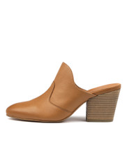 ISTI Heeled Mules in Dark Tan Leather