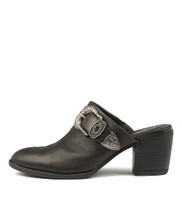 BOATSIE Heeled Mules in Black Leather