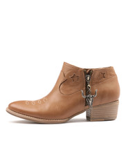LIESL Ankle Boots in Dark Tan Leather