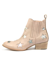 LULULA Ankle Boots in Pale Pink Leather