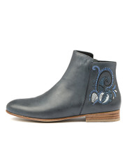 LUCKI Ankle Boots in Blue Leather