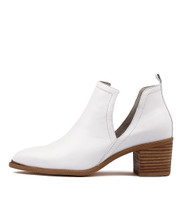 HENTON Ankle Boots in White Leather