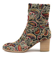 DELISCKA Ankle Boots in Gold Boho Fabric