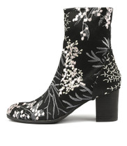 DELISCKA Ankle Boots in Black Blossom Fabric