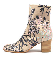 DELISCKA Ankle Boots in Latte/ Blossom Fabric