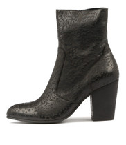 HESTERIA Ankle Boots in Black Laser Cut Leather