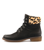 OCTAVE Ankle Boots in Black Leather/ Ocelot Pony Hair