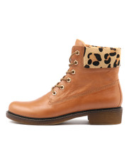 OCTAVE Ankle Boots in Dark Tan/ Ocelot Pony Hair