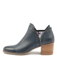 MIDDYS Ankle Boots in Navy Leather/ Silver Floral Elastic