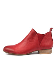FOE Ankle Boots in Red Leather