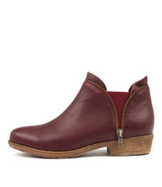 RUBINA Ankle Boots in Burgundy Leather