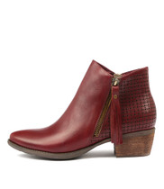 SAXAPHONE Ankle Boots in Burgundy Leather
