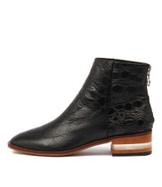 FLAVOR Ankle Boots in Black Croc Leather