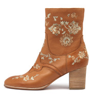 DAPHIES Ankle Boots in Dark Tan/ Gold Embroidery Leather