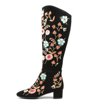JONTONERY Knee High Boots ion Black Embroidered Suede
