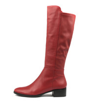 TETLEY Knee High Boots in Dark Red Leather