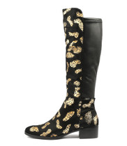 TETLEY Knee High Boots in Black/ Ocelot Pony Hair