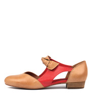 ESETE Flats in Tan/ Red Leather