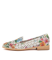 ANSON Loafers in White Floral Leather