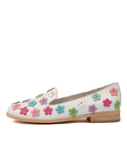 AMAYA Flats in Gelato Multi Flowers/ White Leather
