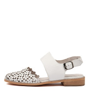 ADDISON Flats in White Leather