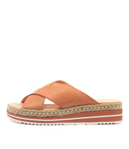 ADEEMUS Flatforms Sandals in Cantaloupe Embossed Leather