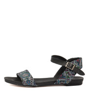 JINNIT Sandals in Black/ Aztec Leather
