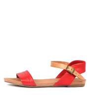 JINNIT Sandals in Red/ Tan Leather