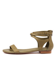 PLEASE Sandals in Khaki Leather