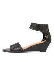 MCKENNA Wedge Sandals in Black Leather