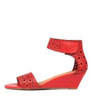 MCKENNA Wedge Sandals in Red Leather