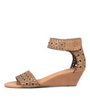 MCKENNA Wedge Sandals in Tan Leather