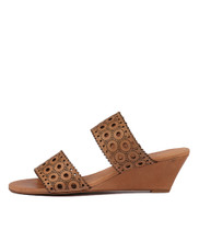 MCKINLEY Wedge Sandals in Tan Leather