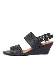 MCKAYLA Wedge Sandals in Navy Leather