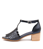 DRESSIE Heeled Sandals in Navy Metallic Leather