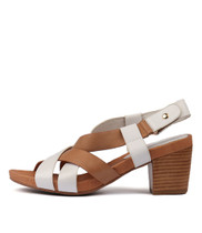 ZAIDEN Heeled Sandals in White/ Tan Leather