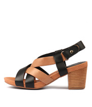 ZAIDEN Heeled Sandals in Black/ Tan Leather