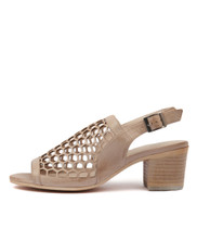 BIKKIS Heeled Sandals in Nude Leather