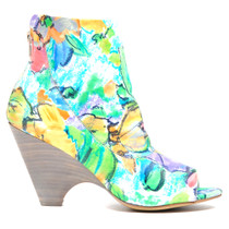 Buzzle Peep Toe Heeled Booties Floral Leather