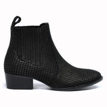 Lakita Ankle Boots Pull On in Black Cut Leather