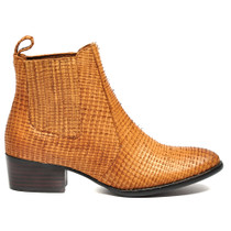 Lakita Ankle Boots Pull On in Tan Cut Leather