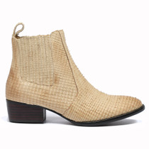 Lakita Ankle Boots Pull On in Beige Cut Leather