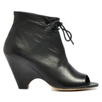 Birra Peep Toe Heeled Booties Black Leather