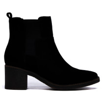 Najita Ankle Boots Pull On in Black Suede Leather