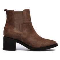 Najita Ankle Boots Pull On in Taupe Suede Leather