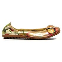 Bex Ballet Flat Gold Metalic Leather