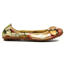 Bex Ballet Flat Gold Metalic Leather