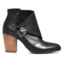 Heidi Heeled Ankle Boots in Black Leather
