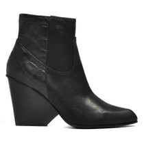 Dint Heeled Ankle Boots in BlackLeather